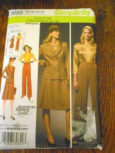 3688 Simplicity Sewing Pattern 1940's High Waist Pants Skirt Top Jacket 20w-28w #Simplicity