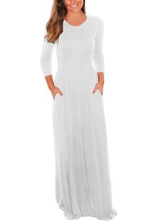 1d3da343d1 Dearlovers Womens 34 Sleeve Loose Plain Casual Maxi Dress with Pockets at Amazon  Womens Clothing store