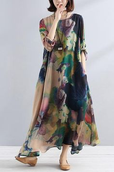 c1e0ffff97b Material  Cotton Linen Color  Floral DressNeck Round NeckSleeve  SleeveWaist LooseSeason Summer SpringStyle Casual Retro DailyModel  Size Height Weight  168 ...