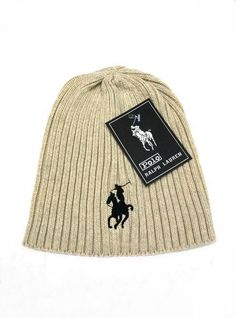Men's / Women's Polo Ralph Lauren Big Pony 3D Embroidered Logo Skull Knit Beanie Hat - Sand / Black
