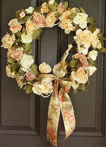Beautiful soft colors for your French country, cottage, shabby, or Victorian garden theme. Roses, pearls, lyre, cherub...this wreath would  make a great bridal shower gift for the couples home.