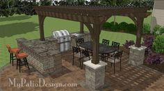 This outdoor kitchen with built-in grill, raised bar, side burner and protec. This outdoor kit