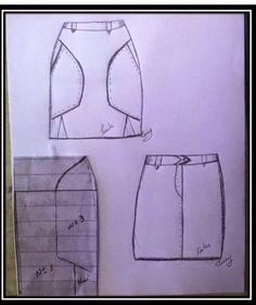 molde de saia reta com bolso