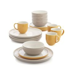 Olson 16-Piece Dinnerware Set | Crate and Barrel $134  sc 1 st  Pinterest & Royal Doulton Mode Putty 4-pc. Place Setting | House | Pinterest ...