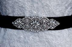 Beaded Sash  Black Beaded Belt   Wedding Sash by EleganceByKate, $59.00