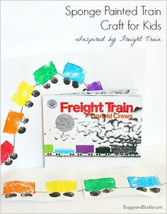 Art Project for Kids inspired by the popular children's book, Freight Train! Make a sponge painted train craft- perfect for toddlers and preschoolers! ~ BuggyandBuddy.com
