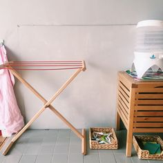 Practical life area in a Montessori home.