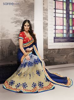 BLUE AND MULTI COLOR GEORGETTE SAREE WITH EMBROIDERY WORK