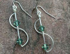 silver wire wrapped earrings with peridot swarovski crystals www.etsy.com/shop/scissorsandpearls
