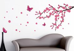 cherry blossom wall decals | with these colourful cherry blossoms spring mood will never leave you