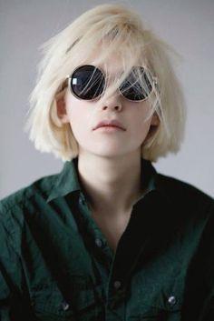 Sunglasses: dark, grunge, short hair, blonde hair, retro, green shirt, black sunglasses, platinum hair - Wheretoget