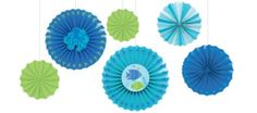 Cool Sea Paper Fan Decorations 6ct - Party City