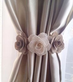 Curtain tie back burlap flower curtain tie backs shabby chic curtains nusery decor burlap curtain tie back nursery decor girls curtains