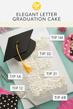 Send your graduate off to great things with this Elegant Letter Graduation Cake. Made using the Countless Celebrations Numbers and Letters Pan, this c. Wilton Cakes, Graduation Desserts, Graduation Cake, Mini Cakes, Cupcake Cakes, Cupcakes, Lemon And Coconut Cake, Savarin, Themed Cakes