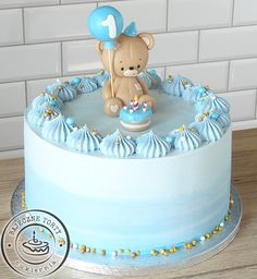 Baby Boy 1st Birthday Party, Cute Birthday Cakes, Baby Shower Cakes For Boys, Baby Boy Cakes, Cake Designs For Boy, Cake Decorating Piping, Sweet Buffet, Grands Parents, Fondant Baby