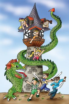 "Cindy, ""I love fairytales! This one is about us! The dragon looks scary, but our brothers will defeat him. I believe they will!""  www.findthecutes.com  #Findthecutes #TheCutes #Fairytalecartoons #Fairytales #Dragon #Fairytaledragon #Fairytaletower #Childrensbook #Kidsbooks #Seekandfind #Cuteillustrations"