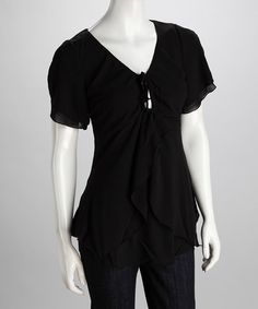 Take a look at this Black Tie Top by Kaity on #zulily today!