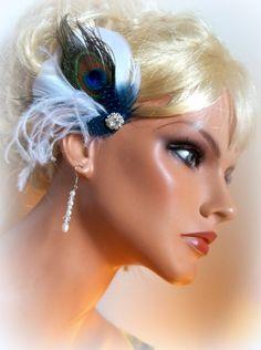 Peacock bridal fascinator hair accessory wedding by kathyjohnson3, $24.00
