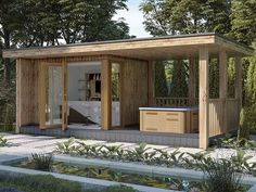 The Crown Buckingham Garden Room - Crown Pavilions Hot Tub Gazebo, Hot Tub Backyard, Hot Tub Garden, Backyard Pools, Pool Decks, Pool Landscaping, Garden Bar Shed, Summer House Garden, Garden Pods