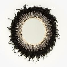 Tribal Feather Mirror - Black This beautiful statement piece has been handcrafted using layered soft feathers, cotton and the precious spiral shell. Ballerina Centerpiece, Tribal Feather, White Feathers, Black Mirror, Beach Fun, Things To Buy, Lounge, Room Decor, Wall Hangings