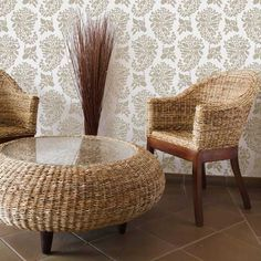 Indian paisley stencil in soft neutral colors | Wall Stencils | Indian Print Stencil | http://www.royaldesignstudio.com/