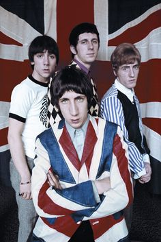 The Who (Roger Daltrey, Pete Townshend, Keith Moon and John Entwistle) Roger Daltrey, 60s Music, Music Icon, Union Jack, The Tremeloes, Rock Festival, Pop Rock, Rockn Roll, British Invasion
