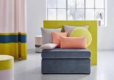 It is that time of year again when all the suppliers release their new exciting collections. Here is a sneak peek into what you can expect from a leading Swiss Textile Company! London Design Week, Textile Company, Sofa, Couch, Pink, Coral Blue, Yellow, Stores, Home Collections
