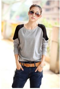 J72836 Loose Chiffon Splicing Batwing T-shirt