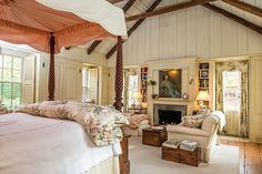 Beautiful Master Suite on Zaccheus Mead. The Master Bedroom remains true to the 18th c. by way of the rafter system and the breastwork on the fireplace wall, which were reclaimed from the previously mentioned 18th c Connecticut cape home. The neutral tone-on-tone scheme of the chair fabrics is carried through to the four-poster bed linens and canopy, accented only with the palest of pinks. The flooring is antique planking. For more information on this dream suite please call us at…
