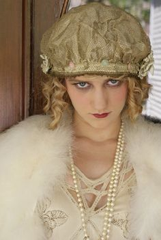 Mary Pickford Used to Eat Roses Rare Metallic Lace and Rosette Night Cap Bonnet Hat Great Gatsby Vibes