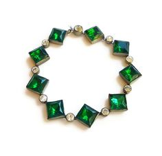 Art Deco Bracelet Czech Glass Emerald Green Clear Paste Rhinestone Silver Pot Metal Antique Jewelry (89.00 USD) by zephyrvintage