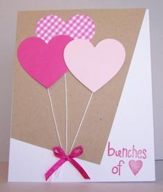 Love in the air - Valentinstag Mothers Day Crafts, Valentine Day Crafts, Homemade Valentines, Cards For Friends, Handmade Birthday Cards, Kids Cards, Homemade Cards, Cardmaking, Creations