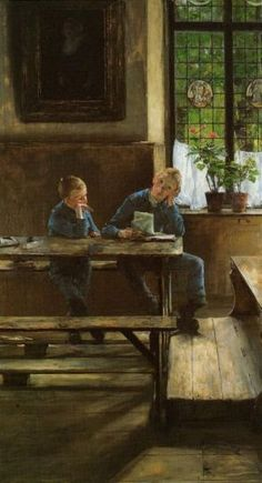 "Gotthardt Kuehl ~ In The Classroom 1886 ~ German Painter. Kunsthalle, Bremen""In ~ In der Schulstube (Waisenhausbuben)"", Gotthardt Kuehl German Painter. Love Painting, Woman Painting, Ludwig Meidner, Old School House, Up Theme, Vintage School, School Daze, Urban Life, Art Themes"