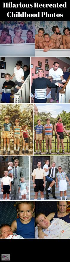 Hilarious Recreated Childhood Photos. Ah, childhood. It's a great time for adoring parents to take uncomfortable photographs of their progeny that will later be used as a great source of amusement for others and embarrassment for the children. Luckily, some have embraced their awkward phase and the accompanying photos and hilariously recreated the pictures at an older age. The result? These hilarious recreated childhood photos. #rosaforlife