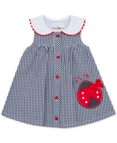 Rare Editions Baby Girls Gingham Seersucker Dress - Blue months Best Picture For baby girl dress Baby Dress Design, Baby Girl Dress Patterns, Frock Design, Children's Dress Patterns, Sundress Pattern, Kids Patterns, Sewing Patterns, Frocks For Girls, Little Girl Dresses