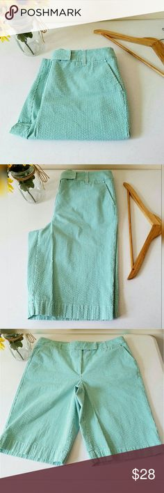 """Talbots Stretch Capri Gently worn. White & pale green textured striped Capri. Stretchy material. Front and back pockets   Measurements  Length 24""""  Inseam length 12""""  Waist 40.5""""  Hip 48.5""""   Always willing to negotiate. Get an additional 30% off when purchasing 3 or more items using the bundle feature. Talbots Shorts"""