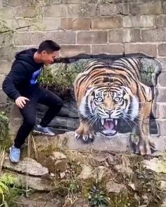 Tiger painting What do you think about this? by _ You can find Crafts for kids and more on our website.Tiger painting What do. Amazing Paintings, Amazing Art, Awesome, Inspiration Artistique, Tiger Painting, Illusion Art, Animation, Creative Art, Cool Pictures