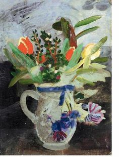 ;Flowers in a Jug' by Winifred Nicholson,c.1940s (oil on canvas laid down on board)