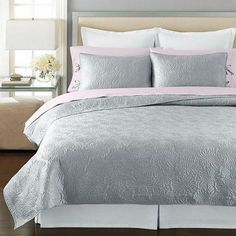 Martha Stewart Carved Dahlia King Quilted Pillow Sham Silver Grey NEW #MarthaStewart