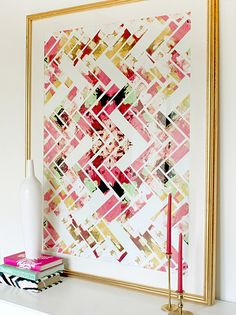Use painters tape to make a pattern, Go crazy with like 4 different paint colors, Remove tape, mat, and frame Modern Abstract Geometric Art