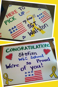 Welcome home and congratulations posters for Military