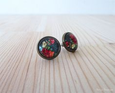 Floral Cabochon Earrings  Antique Brass Post Earrings  Glass