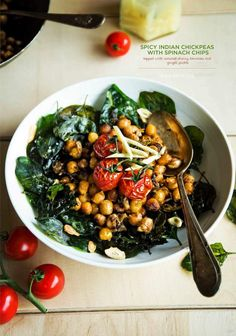 Spicy Indian Chickpeas with Spinach Chips, Topped with Roasted Cherry Tomatoes and Ginger Pickle