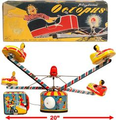 Alps Playland Octopus tin toy. Remote Control Battery operated.