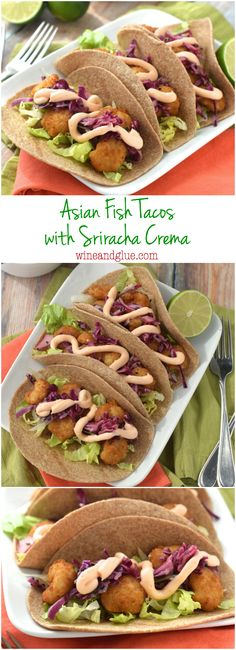 These Asian Fish Tacos with Sriracha Crema are seriously easy, but taste restaurant quality good. Perfect for a weeknight meal!