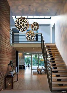 Love the light fixture Stairs Design Modern Fixture Light Love Salon Interior Design, Beautiful Interior Design, Beautiful Interiors, Interior Modern, Home Stairs Design, Modern House Design, Modern Stairs, Modern Foyer, Modern Railing