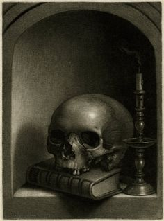 Vanitas still-life (memento mori); a skull resting on a book with an extinguished candle at right in a niche Mezzotint Print made by Wallerant Vaillant  Dutch. 1600-75