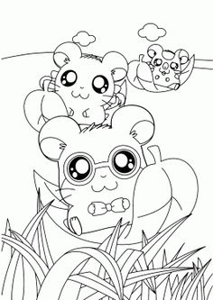 hamtaro funny anime coloring pages for kids printable free