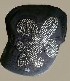Olive & Pique Black Destroyed Military Cadet Hat Rhinestone Bling Saints Star - Hats