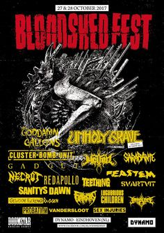 "Bloodshed Festival 28.10.2017 Eindhoven ""Dynamo"" Gallows, Eindhoven, Comic Books, The Unit, Comics, Movie Posters, Comic Strips, Film Poster, Popcorn Posters"
